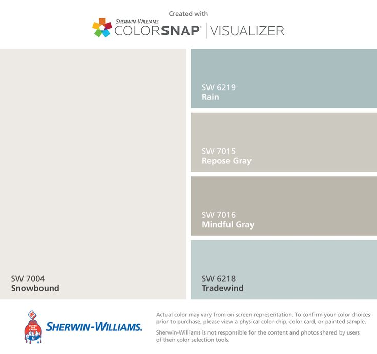 I found these colors with ColorSnap® Visualizer for iPhone by Sherwin-Williams: Snowbound (SW 7004), Rain (SW 6219), Repose Gray (SW 7015), Mindful Gray (SW 7016), Tradewind (SW 6218).