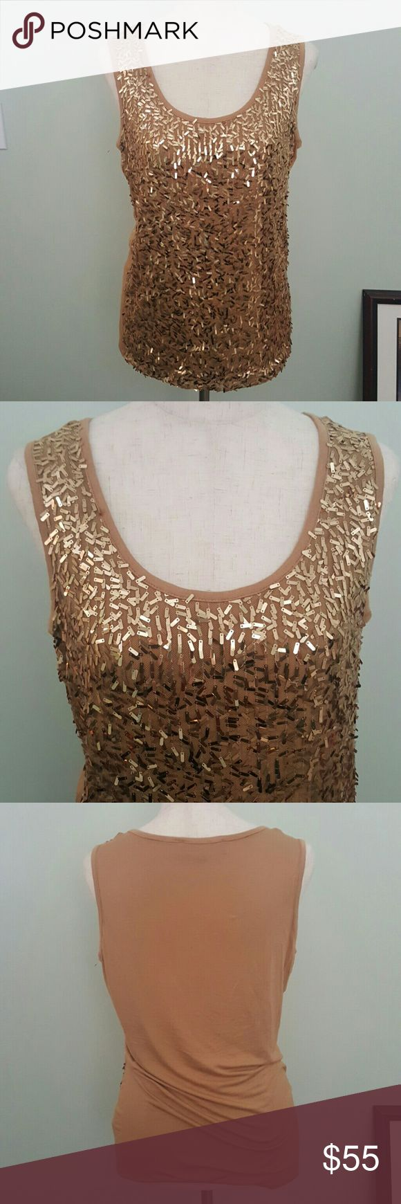 NWOT Gold Confetti Sequin Tank Top Sexy gold tank top. Chest 36 inches. 25.5 inches long. Jones New York Tops Tank Tops