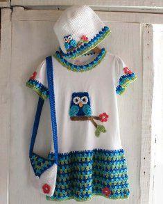Owl T-Shirt Dress, Hat and Purse Crochet Pattern http://www.maggiescrochet.com/owl-tshirt-dress-hat-and-purse-crochet-pattern-p-2718.html #owl #dress #hat #purse