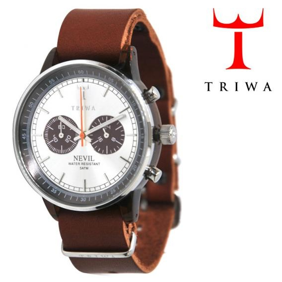 TRIWA(トリワ)  リストウォッチ 腕時計 ブラウン×シルバー クロノグラフ 【送料無料】 wc-triwa-038