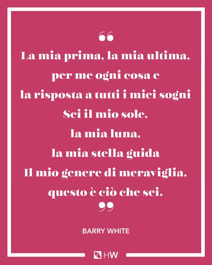 «La mia prima, la mia ultima, per me ogni cosa e la risposta a tutti i miei sogni Sei il mio sole, la mia luna, la mia stella guida Il mio genere di meraviglia, questo è ciò che sei.» cit. Barry White #weddingquote #xsemprehappy