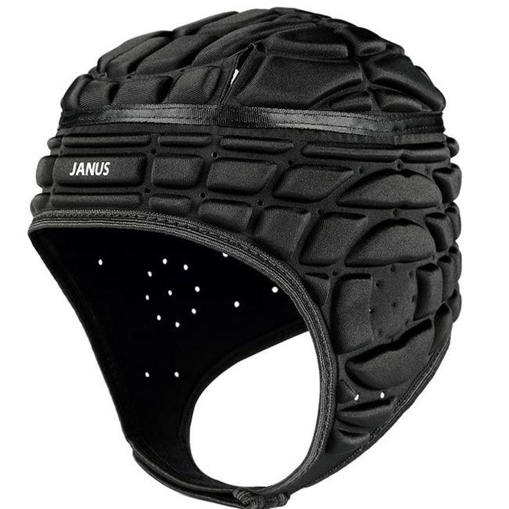 Janus Men's Pressional Football Soccer Goalkeeper Helmet Rugby Scrum Cap Headguard Black Red Goalie Roller Hat Head Protector