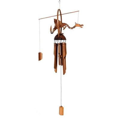 Novica Asian Dragon on Bamboo Wind Chime