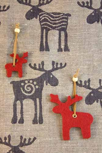 Swedish felt Christmas decorations (and one of my Christmas cards).