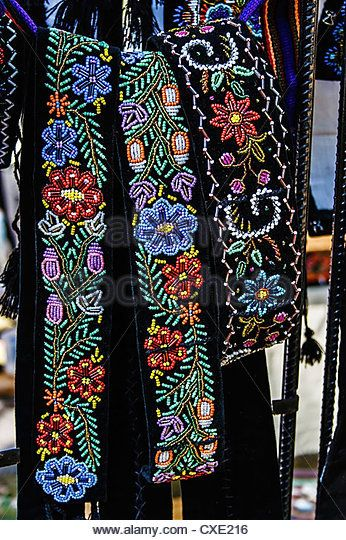 Wide belts men, and embroidered Romanian traditional - Stock Image
