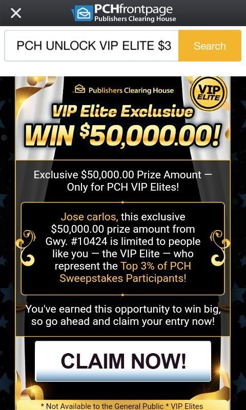 I jcg claim pch vip elite exclusive WIN $50,000 00! Gwy No 10424