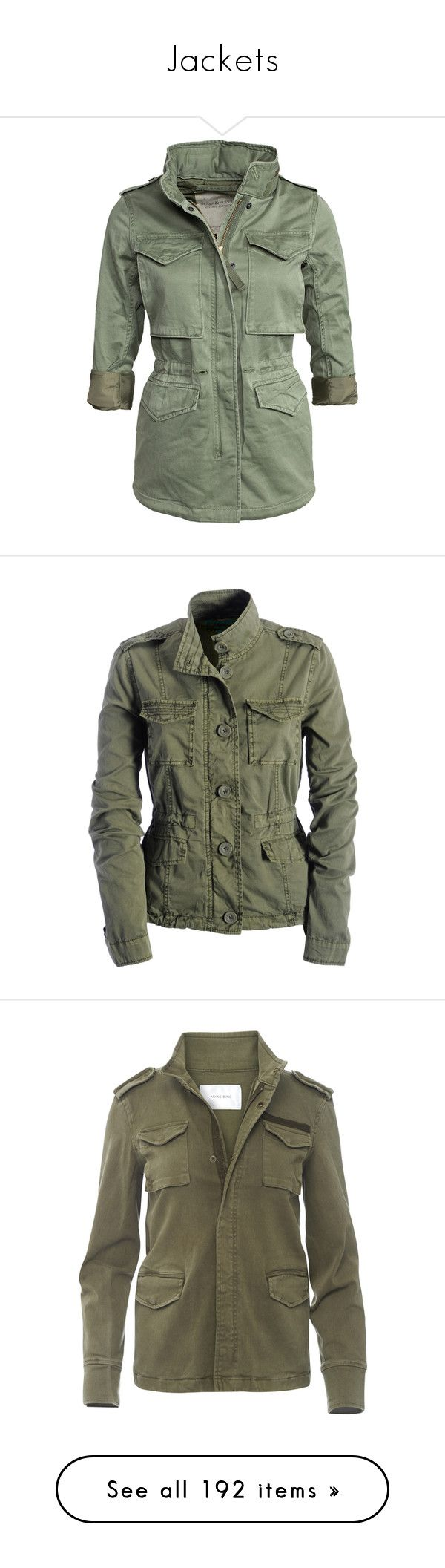 """""""Jackets"""" by mrseclipse ❤ liked on Polyvore featuring outerwear, jackets, tops, coats, army olive, womens-fashion, army green military jacket, army jacket, high collar jacket and olive army jacket"""