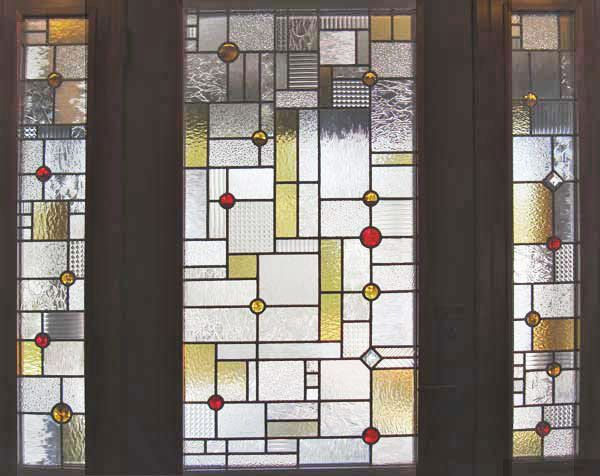 Custom abstract stained and leaded glass entry inspired by for Front door quilt pattern