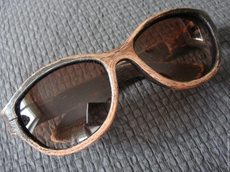 Купить Солнцезащитные очки в оправе из дерева №2 - необычные очки, деревянные очки, ручная работа