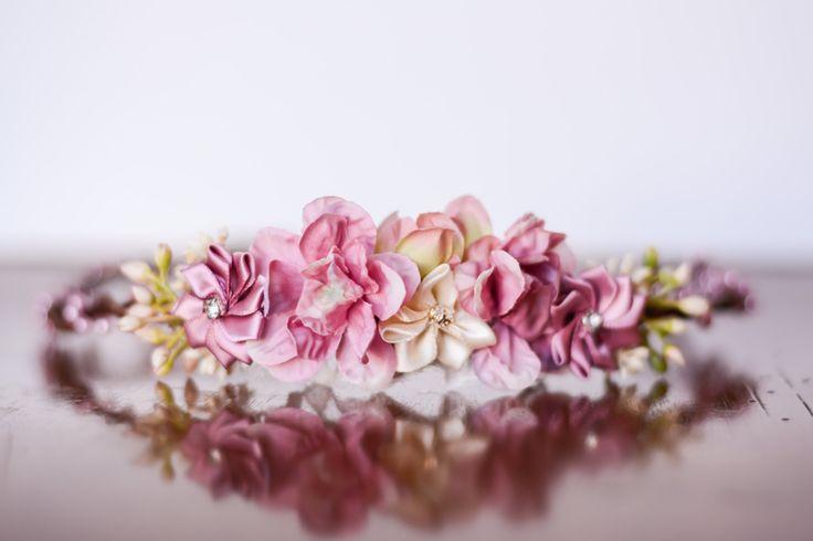 Flower Crown - Flowergirl hairpiece - Rose Wedding - Newborn Photo Prop - Wedding Crown - Floral Hairpiece by LittleLadyAccessory on Etsy