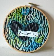 Mixed Media Embroidery - Beautiful Heart, $25