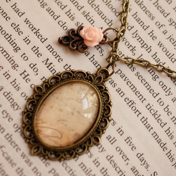 Handwriting with Pink rose vintage style glass dome necklace, romantic style