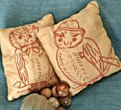 Victorian Child Toy Bean Bag Game 2  Hand Made Embroidery Owls Redwork