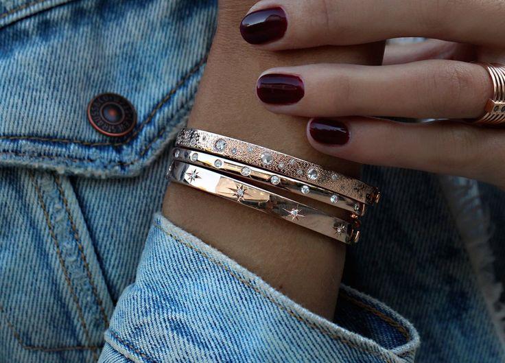 14kt gold rose cut diamond hammered bangle – Luna Skye