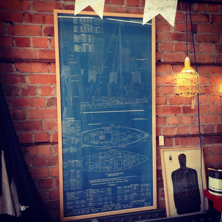 Framed vintage ship blueprint - The General Store