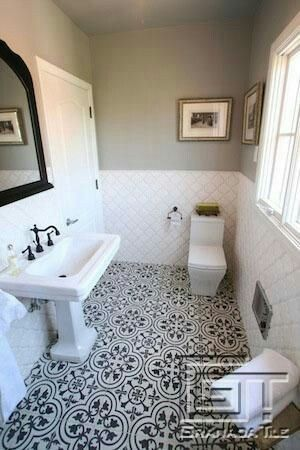 Clean bath with accent tiles
