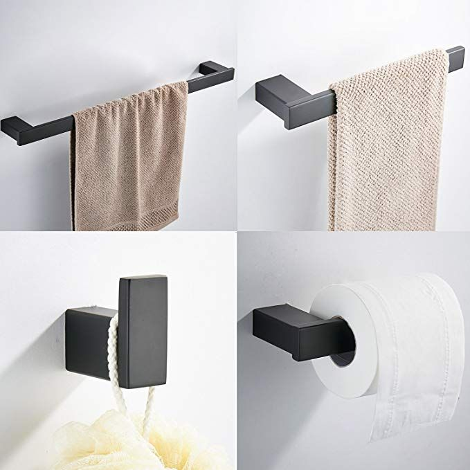 Koolift Bathroom Square Towel Bar Holder Stainless Steel 4 Piece Bath Hardware Accessory Set With Towel Bar Toilet Paper Holder Towel Ring Robe Hook Wall Mount Toilet Paper Holder Towel Bar