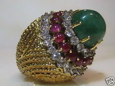 VINTAGE DAVID WEBB 18KT YELLOW GOLD DIAMOND RUBY EMERALD COCKTAIL RING 27.00CTS