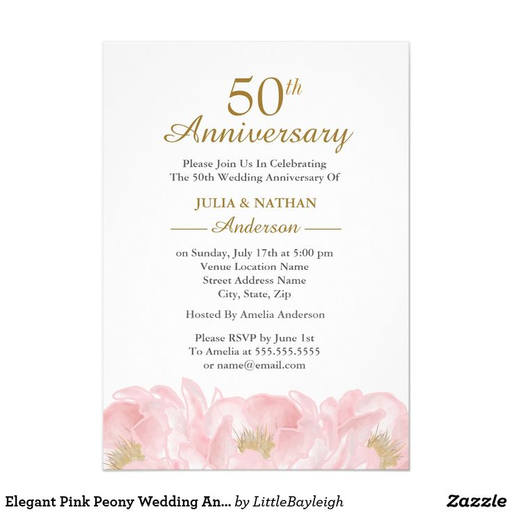 37 best wedding anniversary images on pinterest elegant pink peony wedding anniversary invitation stopboris Image collections