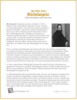 "a biography of michelangelo an artist What is the best biography on michelangelo  for a deeper biography, i recommend ""michelangelo: the artist, the man and his times"" by william e wallace."