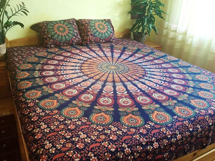 Nutně chci na zeď! přehoz na postel, mandaly, ruční sítotisk, přehoz na pohovku, ozdobná tapisérie, dekorace na zeď, deka na piknik, plážová deka, podložka na pláž, podložka na cvičení jógy, jóga podložka, indická textilní dekorace