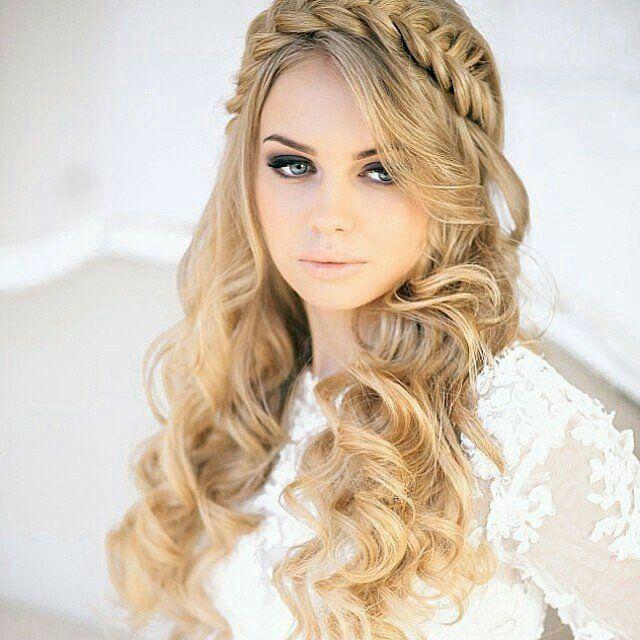 Fish braided headband with soft curls, beautiful for a wedding