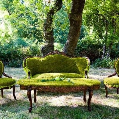 GreenGardens Seats, Outdoor Furniture, Parks Benches, Gardens Furniture, Living Room, Lawns Furniture, Backyards Design, Vintage Furniture, Moss Gardens
