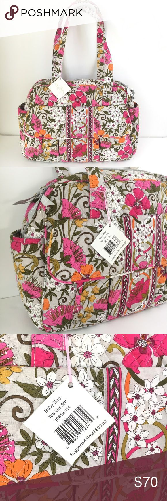 """NWT Vera Bradley baby bag diaper bag tea garden Vera Bradley NWT baby bag in tea garden pattern. Diaper bag I ncludes terry cloth covered changing pad. 11 interior and exterior pockets, including a zippered one on back side. Lined interior for easy cleaning. Brand new with tags. Approximate measurements: 16"""" x 11.75"""" x 5.5"""". 12"""" strap drop. I love bundles and offers! Vera Bradley Bags Baby Bags"""