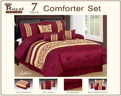 """7 Piece Faux Silk Flocking Burgundy Sophia Comforter Set Queen by Royal Luxury LINEN. $64.99. CARE INSTRUCTION  MACHINE WASHABLE IN COLD OR WARM WATER. MADE IN CHINA. NICE FILLED COMFORTER USE FOR SUMMER OR WINTER. ROYAL LUXURY SOPHIA 7 PIECE COMFORTER SET. FABRIC CONTENT 100 POLYESTER. QUEEN SIZE COMFORTER SET ONE QUEEN COMFORTER 86""""X86"""" TWO PILLOW SHAMS 20""""X28""""+2 THREE FILLED DECORATIVE PILLOWS ONE BED SKIRT 60""""X80""""+15"""