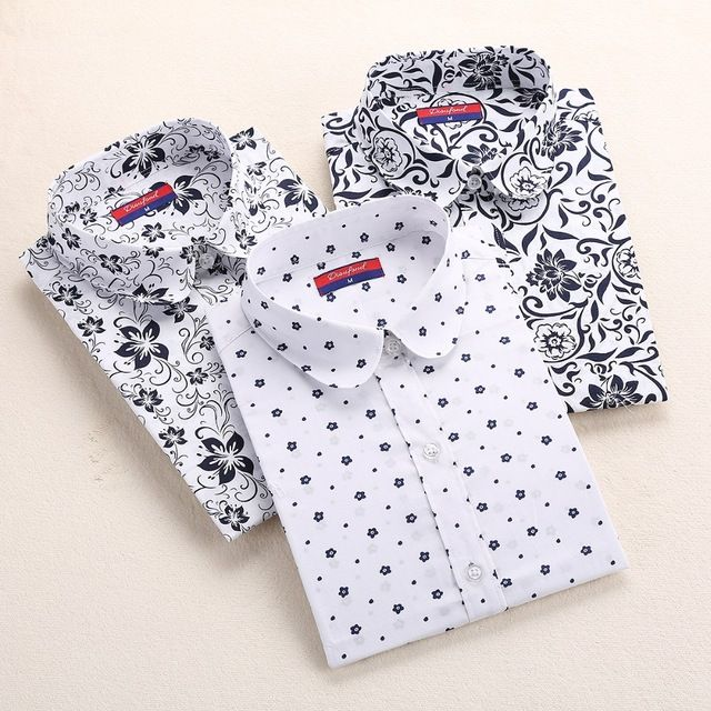 Autumn Floral Women Shirts with Long Sleeves Cotton Blouses Shirt Turn Down Collar Female Bodycon Shirts Women Feminine Shirt