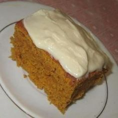 Pumpkin cake is a quick and easy dessert made with yellow cake mix and pumpkin puree. Top with a cream cheese frosting!