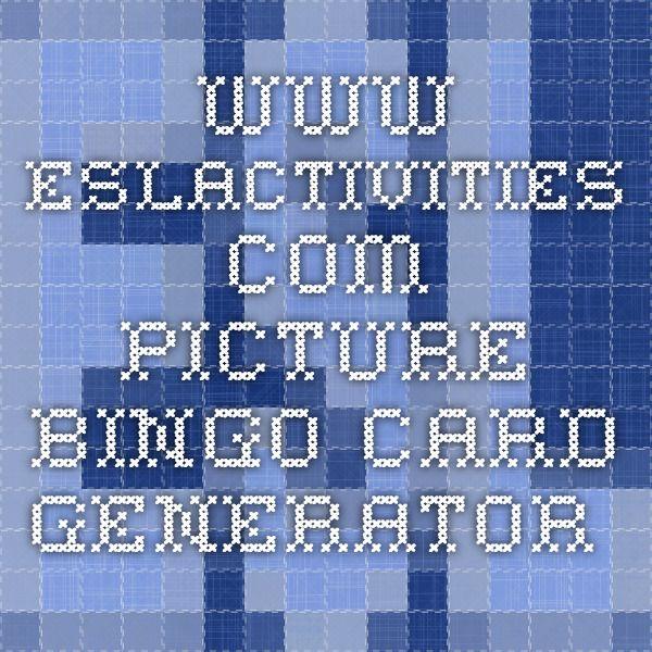 www.eslactivities.com - picture bingo card generator