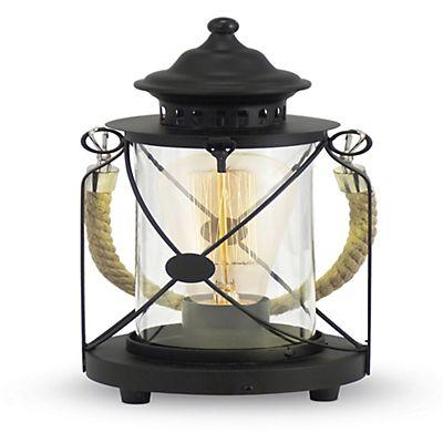 Lampe à poser noire style lanterne de marin H33cm