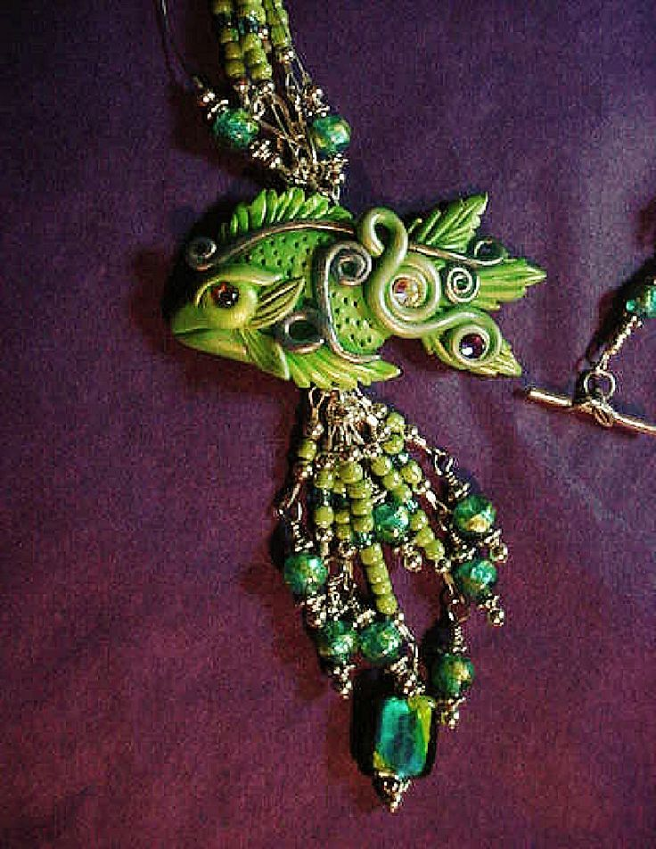 http://www.mjcrafts-designstudio.com/images/Jewel_and_Polymer_Green_Fish_Pendant_Necklace_1.jpg