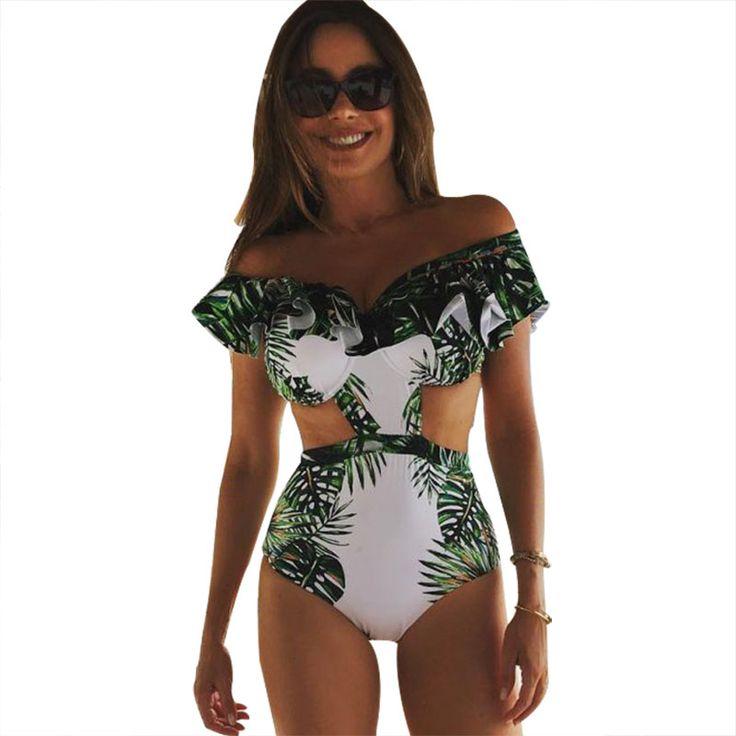 One Piece Swimsuit Sexy Swimwear Women 2017 Summer Beach Wear Bathing Suit Bandage Backless Halter Top Monokini Bodysuit