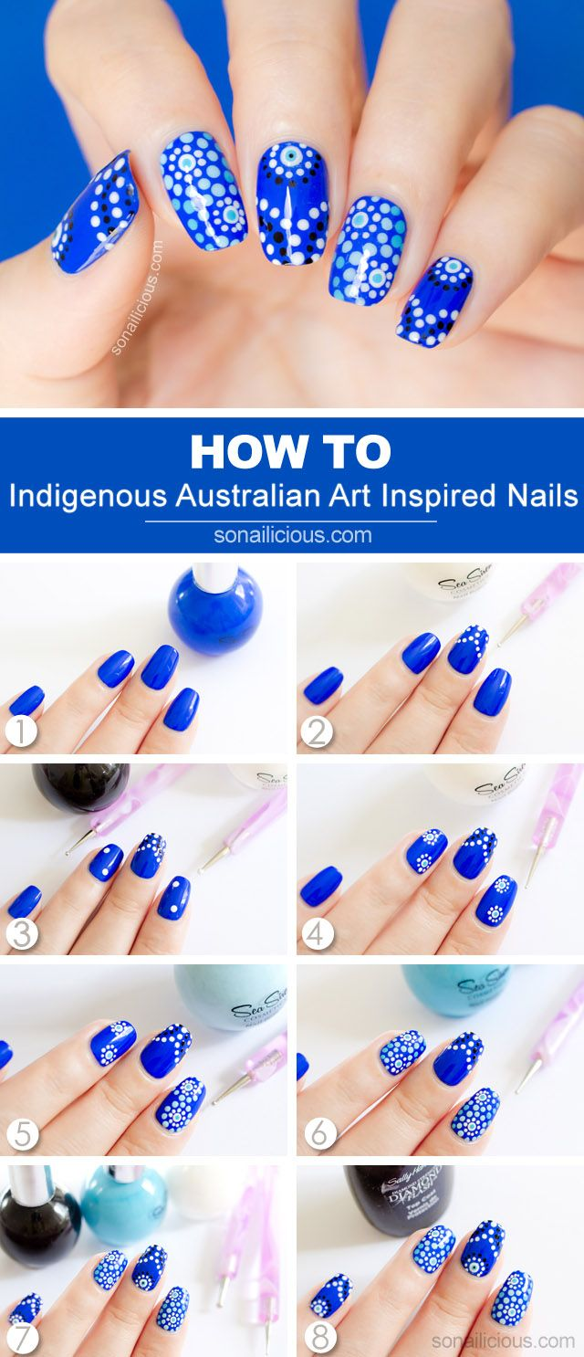 Australia Day Nail Art Tutorial: http://sonailicious.com/aboriginal-art-australia-day-nail-art-tutorial/