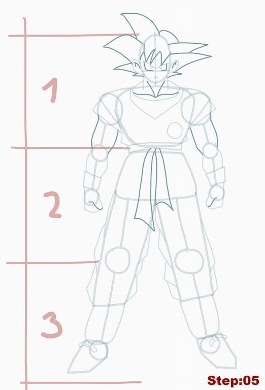 How to draw Goku from Dragon Ball Z step 05