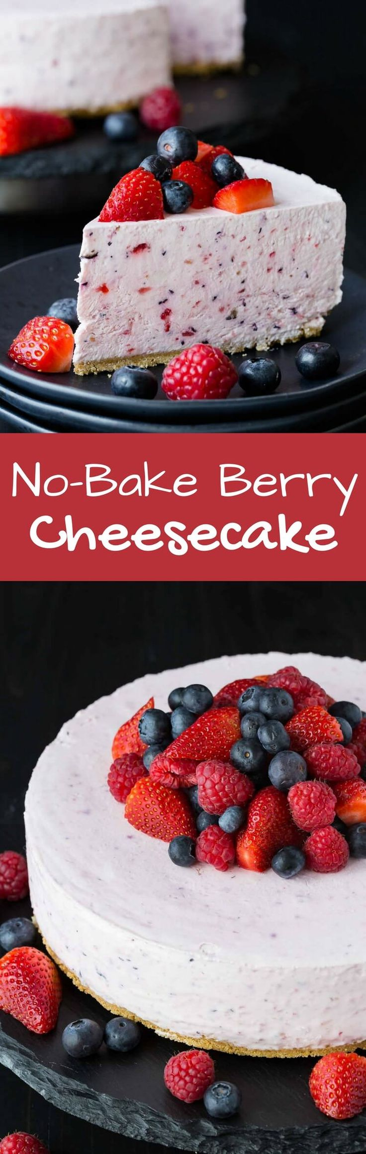 This no bake berry cheesecake is one of those that you will want to make for every summer party. It's full of strawberries and blueberries. #cheesecake #nobake #summer