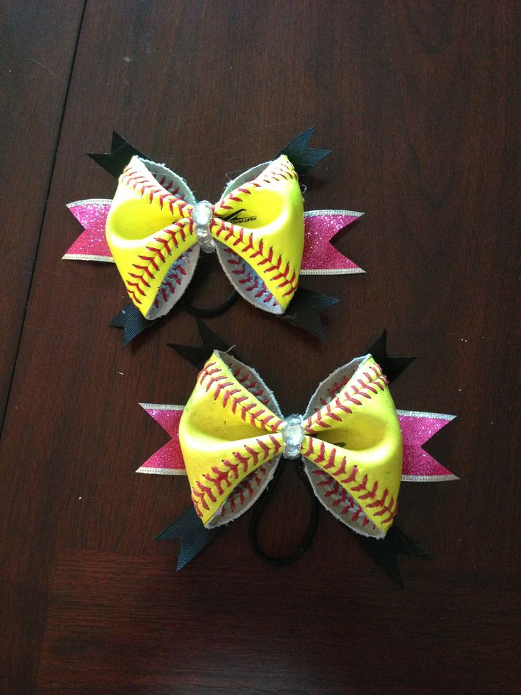 Bows made from real softballsSoftballl Baseball, Softball Stuff, Baseball Stuff, Softball Ideas, Hair Bows, Softball Bows, Christine'S Boards, Real Softball, Bows Ideas