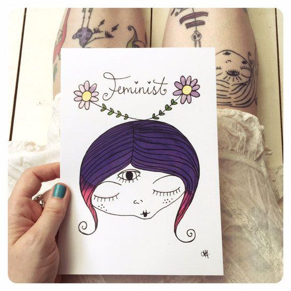 Feminist art feminist print water colour body positive art