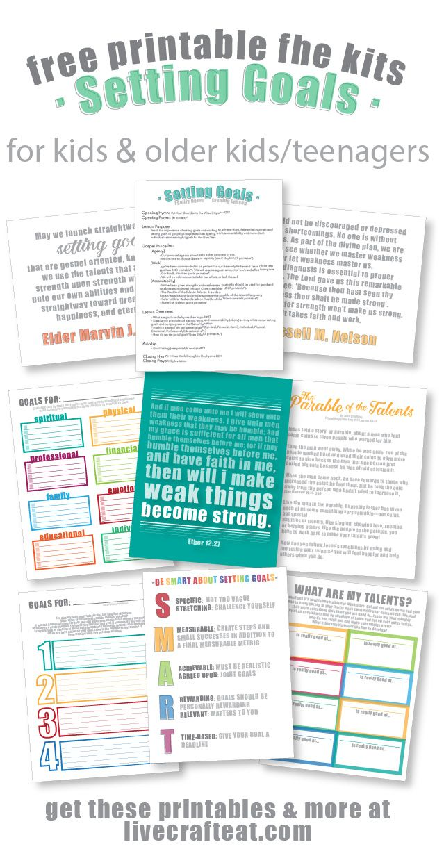 looking for a great way to teach your kids & older kids/teenagers about goal setting? get these free printable family home evening kits! there are 2 sets: one for older kids/teenagers, and a more simplified version for younger kids. each kit includes suggestions for scriptures, quotes, stories/talks, handouts, songs, and activities. all of them free and printable, of course!! | www.livecrafteat.com