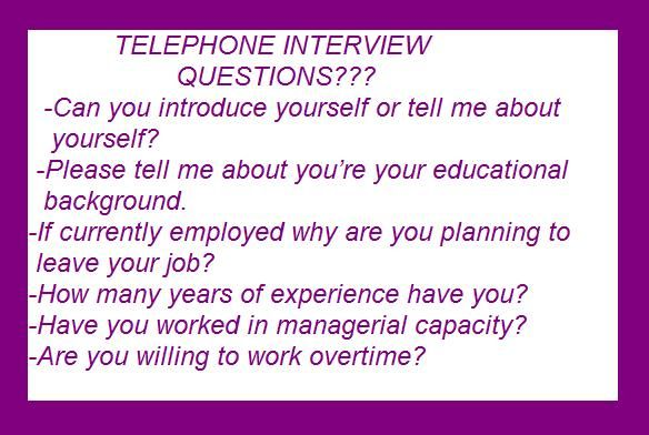 telephone interview questions??