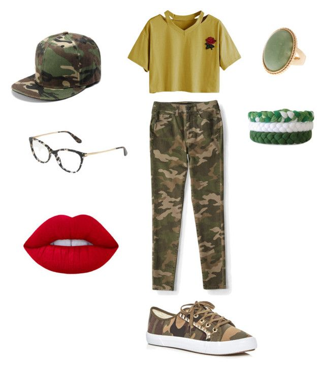 """Camo outfit x"" by nicolebobbi on Polyvore featuring Aéropostale, Jack Rogers and Dolce&Gabbana"