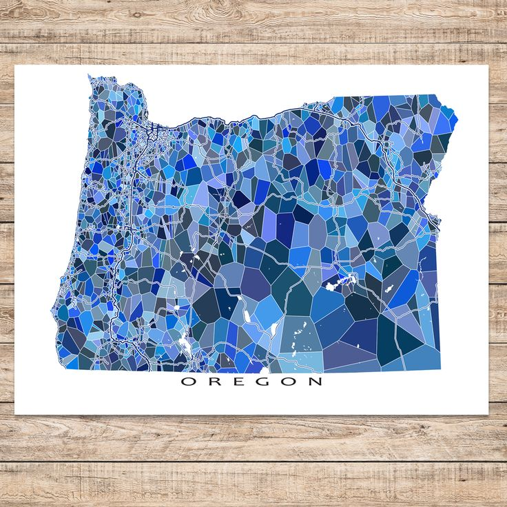 Oregon state map art featuring major roads