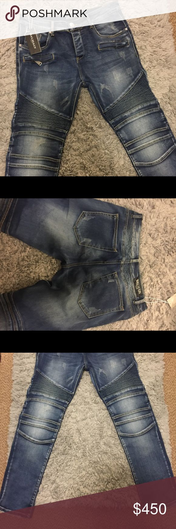 100% genuine Balmain Jeans Dead stock straight leg Balmain Jeans Sz 34 Balmain Pants