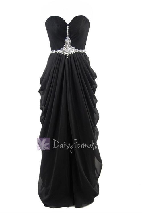 Delicate floor length black chiffon dress beaded sweetheart beach wedding party dress(pr72168)