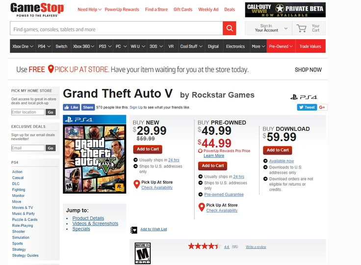 [screenshot]Can someone explain this price to me for GTA V at gamestop? $44 used $29.99 new sale going on? #Playstation4 #PS4 #Sony #videogames #playstation #gamer #games #gaming