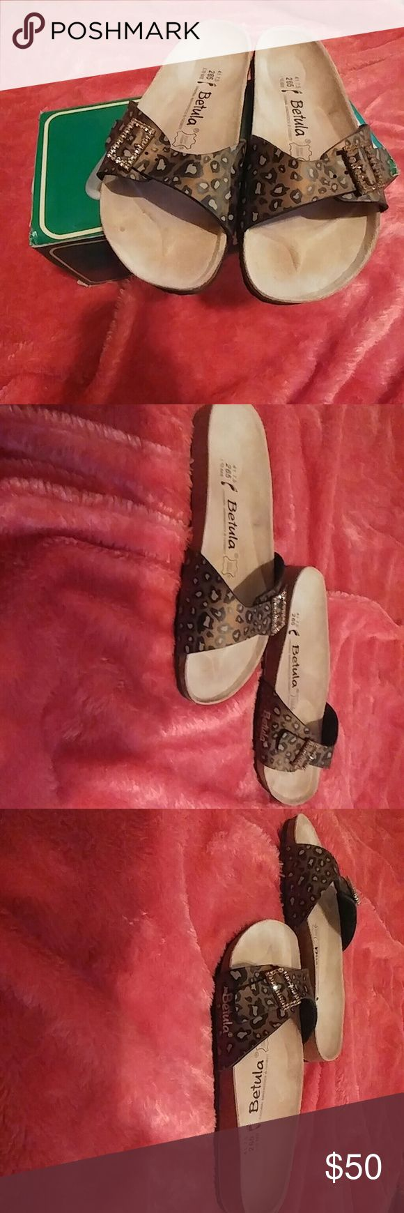 Betula Leopard Sandals Brand new Betula Leopard Sandals that have never been worn. They are still in the original box.  The footbed liner is made of leather and the footbed is made of natural cork. The sole is EVA so it is very flexible and also very comfortable. Birkenstock Shoes Sandals