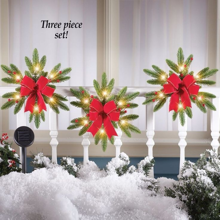 Solar Powered Lighted Pine Snowflake Wreaths Festive Red Bow 12 Inch (Set of 3) #Wreath #SolarPowered #Snowflake #Lights #PineWreath #Pine #Festive #RedBow #Holiday #Christmas #Seasonal #HomeDecor #WallHang