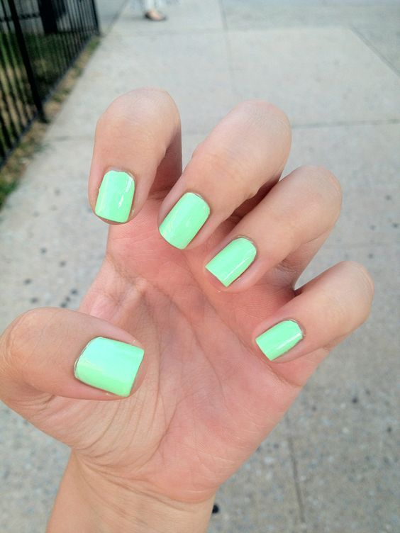 45 Short Square Acrylic Nail Designs Awimina Blog Green Nails Mint Green Nails Mint Nails